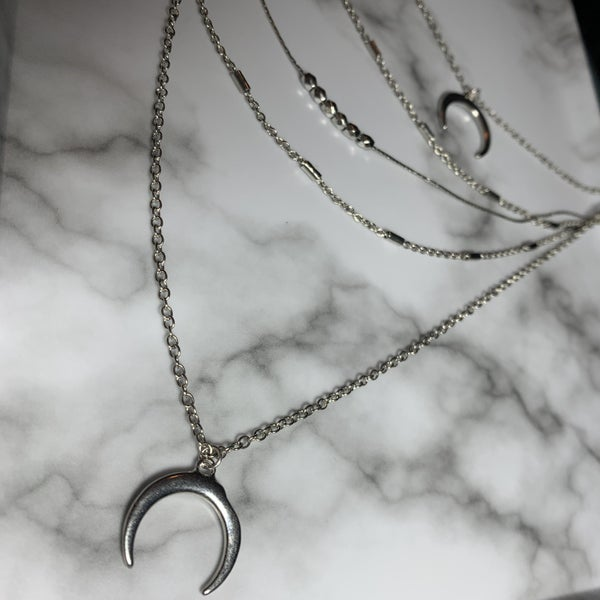 Silver Crescent Layered Necklace