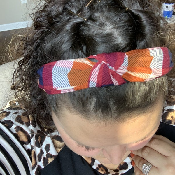 Maroon and Rust Plaid Headband
