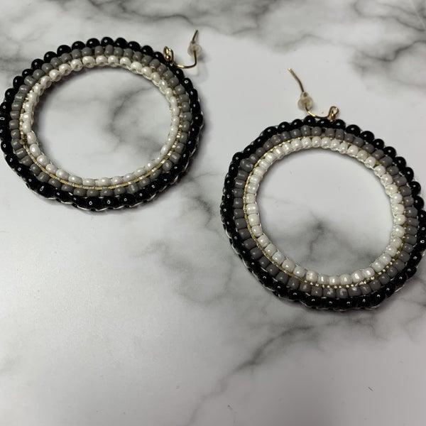 Grey and Black Hoop Earrings