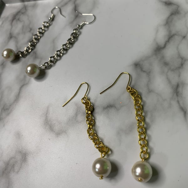Chain Link Pearl Earrings
