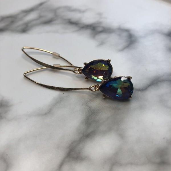 Blue Pear Shape Dangle Earrings