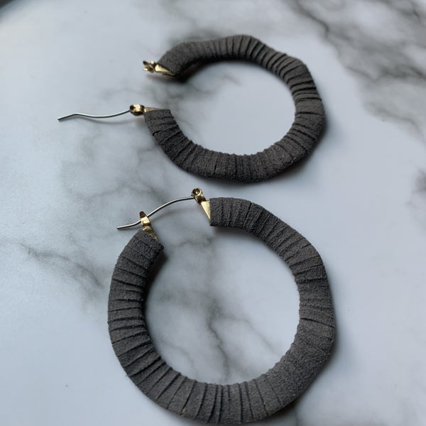 Grey Leather Hoops