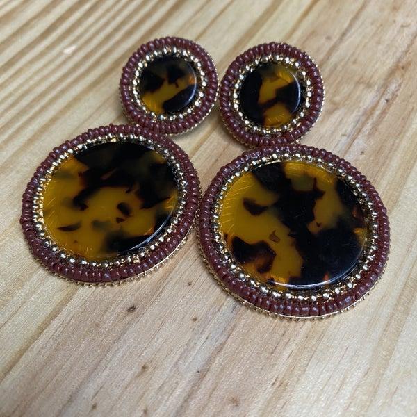Tortoise Beaded Earrings