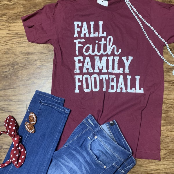 """Fall Faith Family Football"" Graphic Tee Preorder"