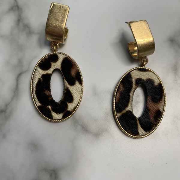 Oval Leopard Earrings