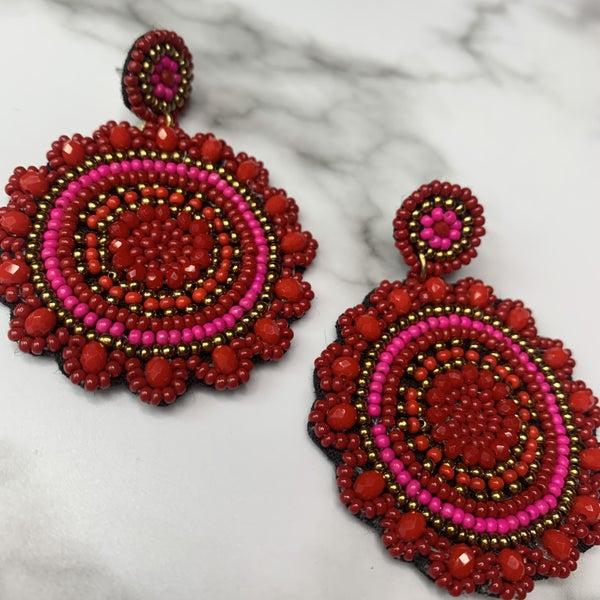 Red & Pink Beaded Earrings
