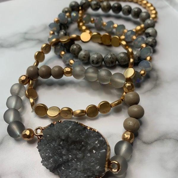 Grey Druzy Bracelet Stack