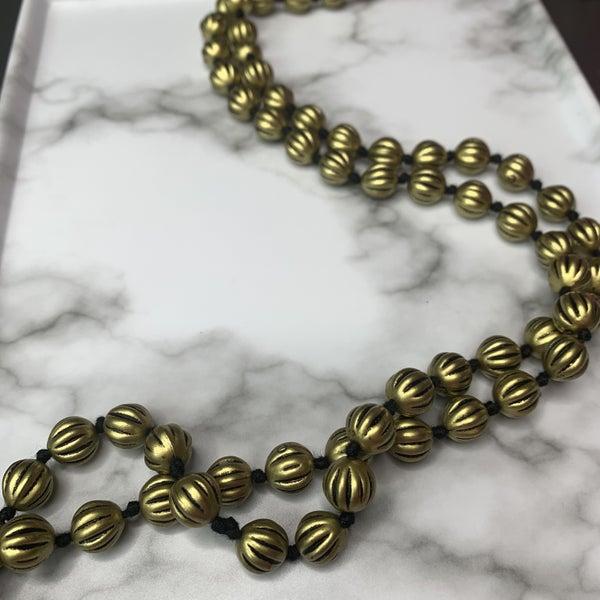 Gold Beveled Bead Necklace