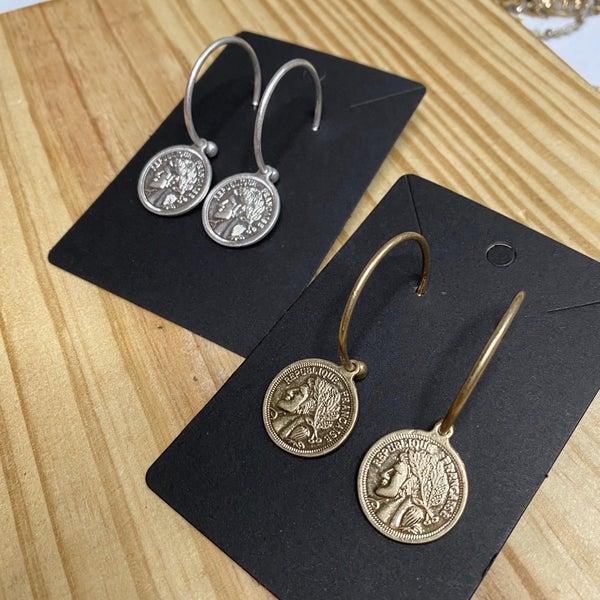 Coin Hoop Earrings