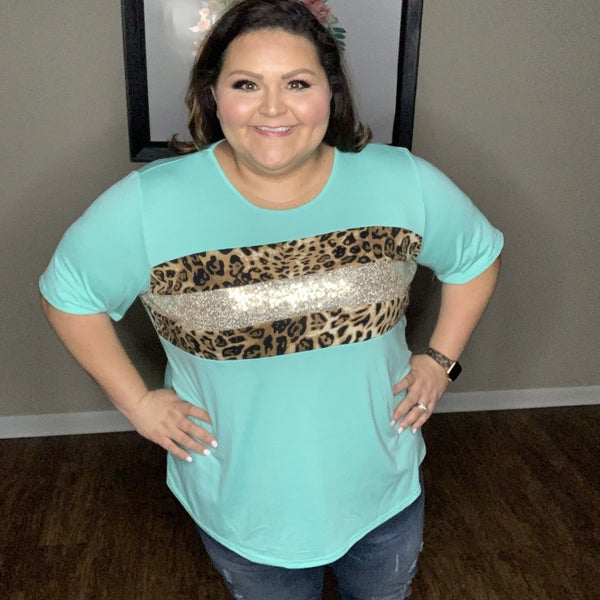 Blue Sequin Leopard Top *Final Sale*