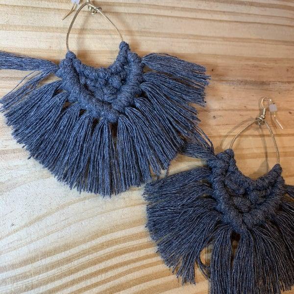 Crochet Grey Earrings