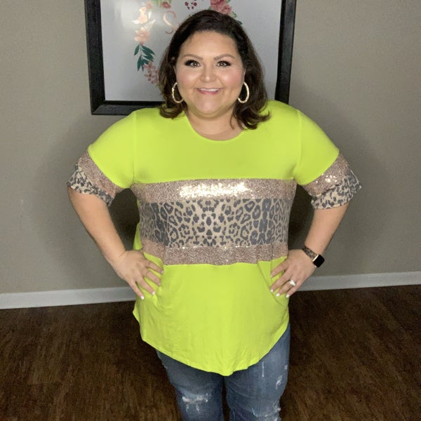 Lime Sequin Leopard Top *Final Sale*