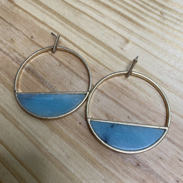 Blue Stone Hoops *Final Sale*