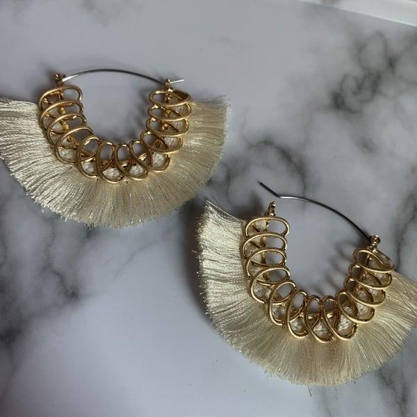 Spiral Cream Fringe Earrings