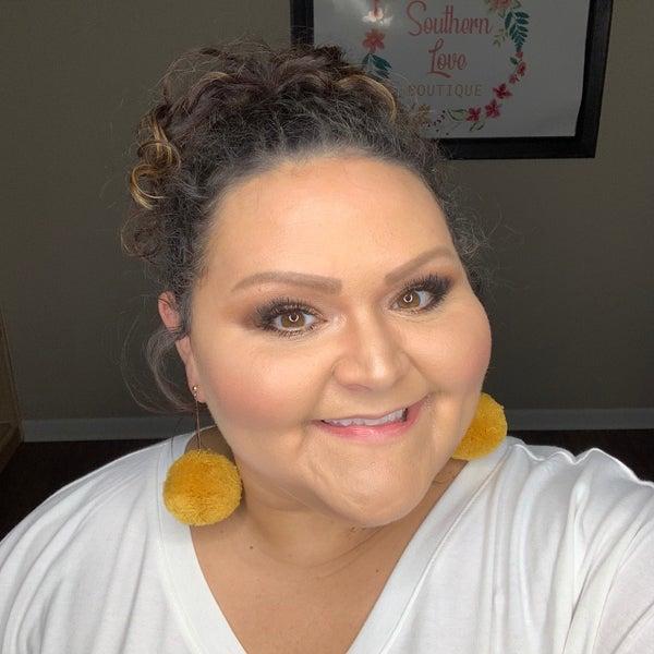 Mustard Puff Ball Earrings