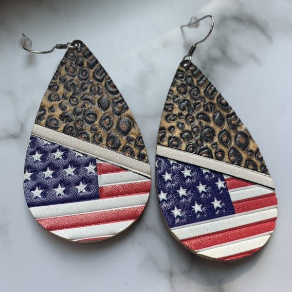 Leopard & Flag Earrings