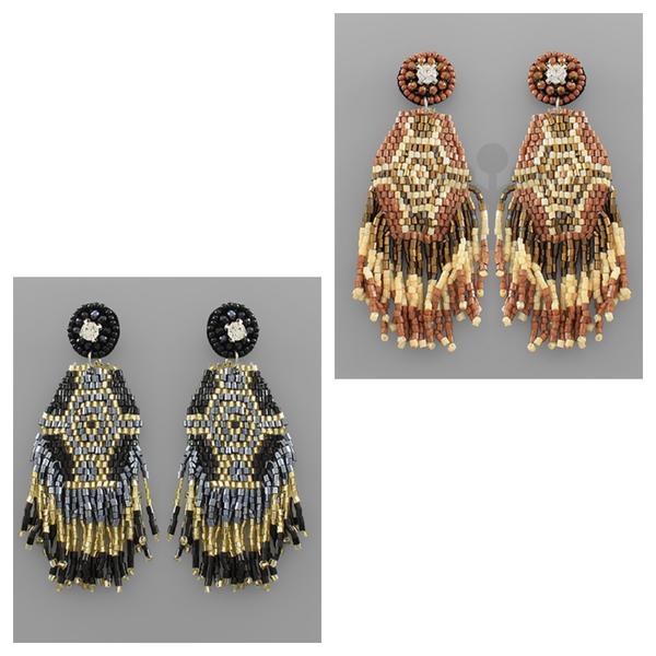 Aztec Beaded Drop Earrings