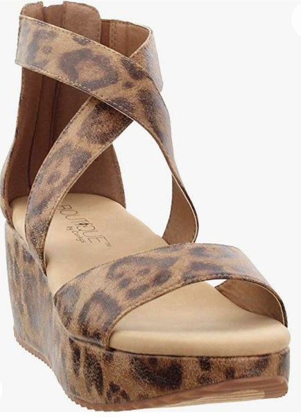 Distressed Leopard Strappy Wedge *Final Sale*