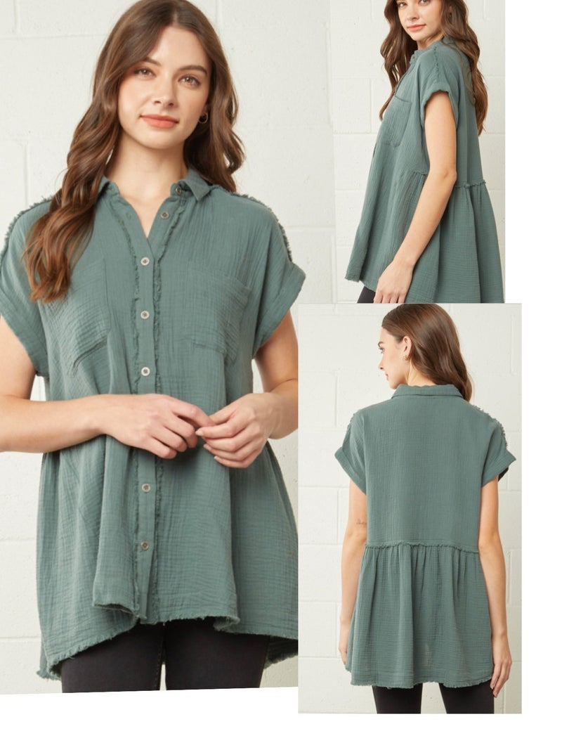 Oversized Textured Button Down Top W/Pockets