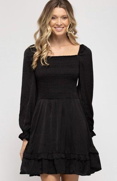 Long Sleeve Puffy Sleeve Dress