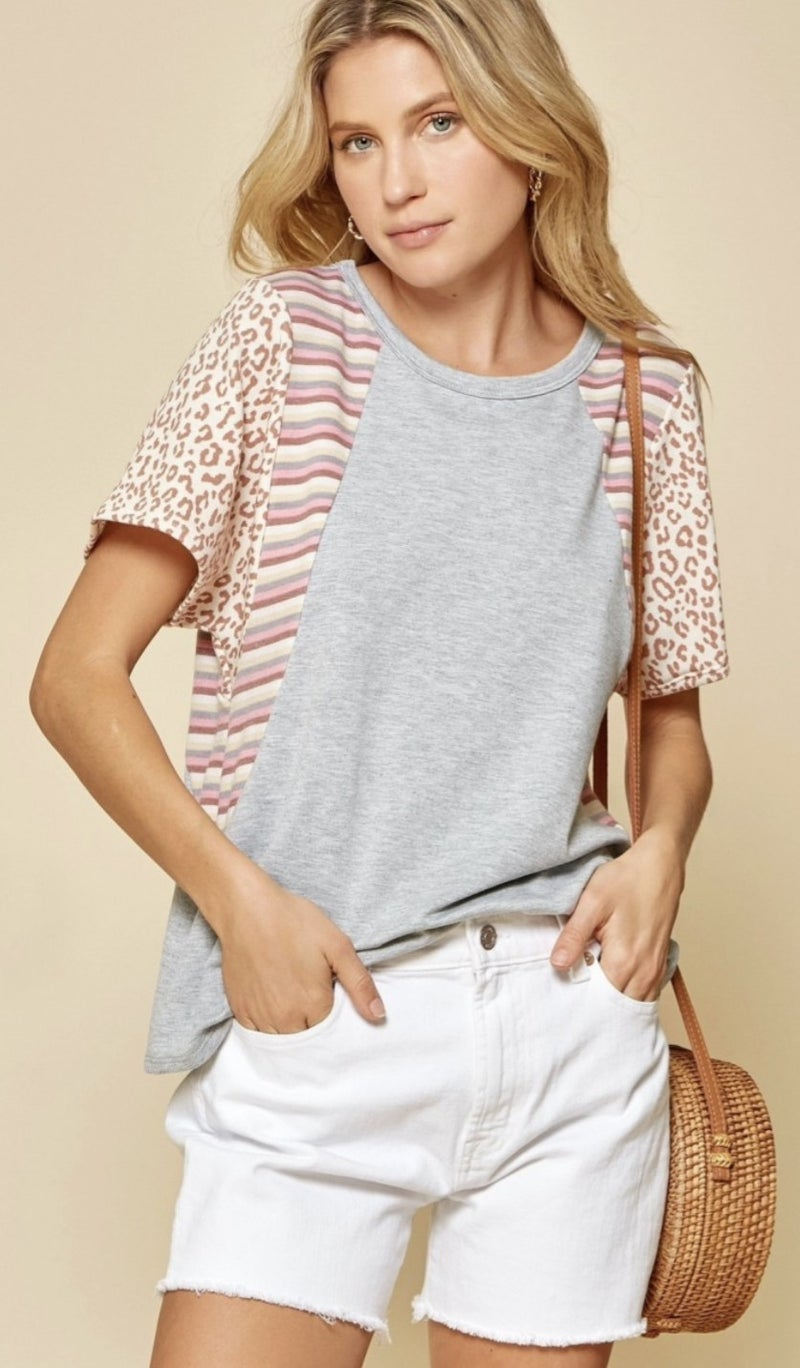 Easily Adored Striped Animal Print Top *Final Sale*