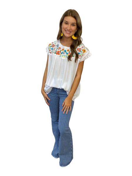 Embroidered Rushed Top With Ruffled Sleeves