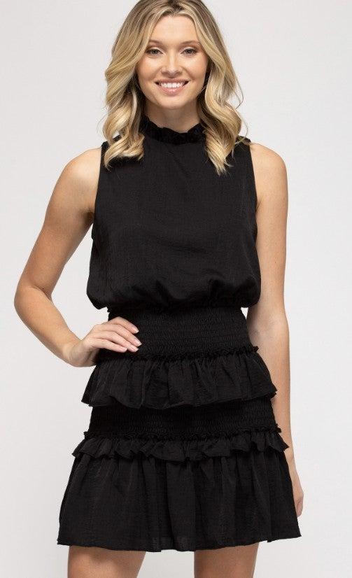 Sleeveless Ruffle Dress - Black