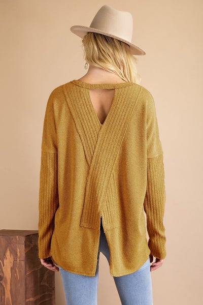 Mustard Open X Back Knit Top