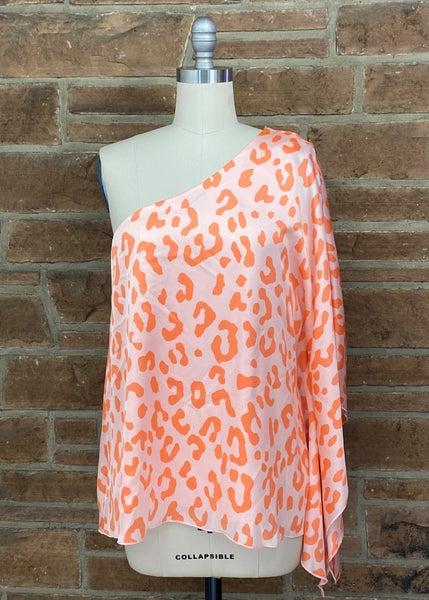 Orange Delight Leopard Print  Satin Top
