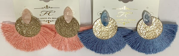 Gold Disc Fringe Earrings