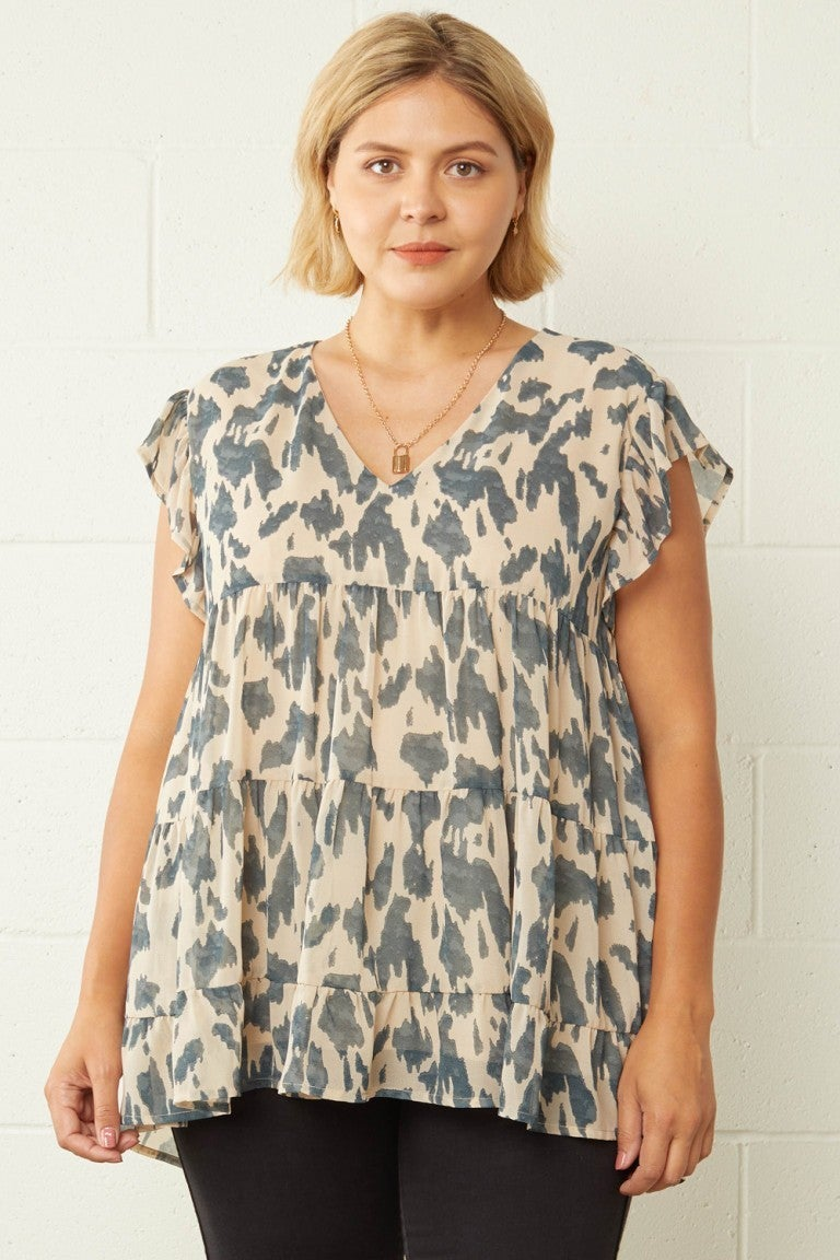 Curvy Taupe Ruffled Sleeve Tiered V-Neck Top