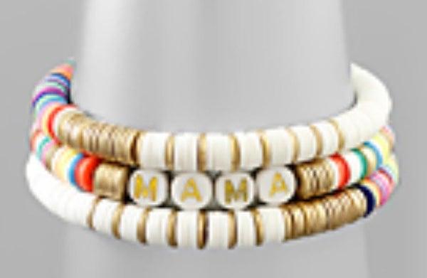 Mama Multi Colored Stretch Bracelet Set