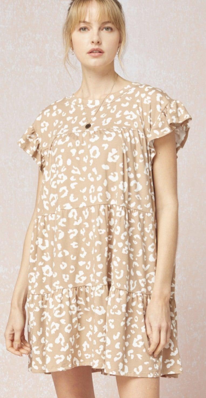 Leopard Babydoll Tiered Dress