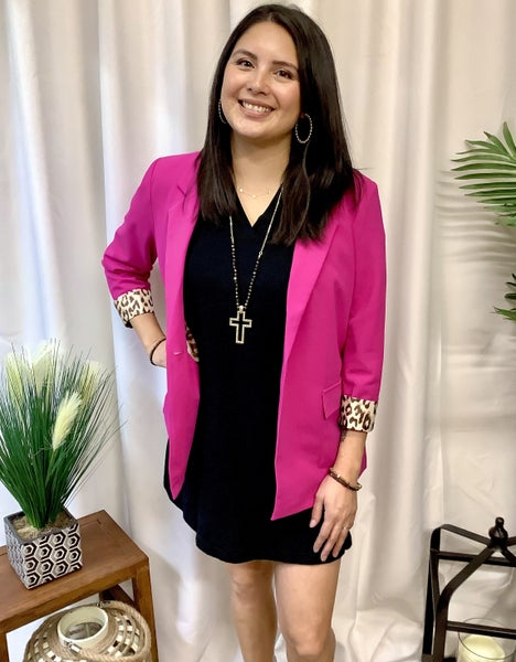 Hot Pink Blazer W/ Leopard Trim Cuff