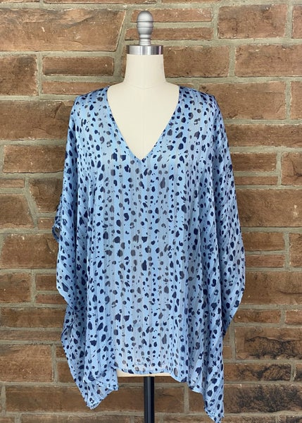 Slate Blue Animal Print V-neck Poncho Top