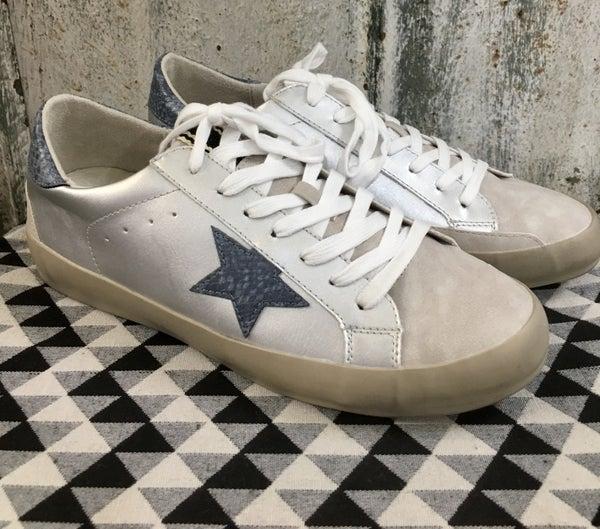 Silver & Blue Star Sneaker