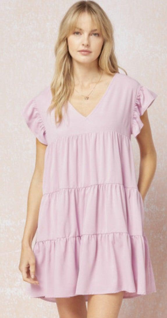 Ruffled Sleeved V-Neck Pocket Dress *Final Sale*