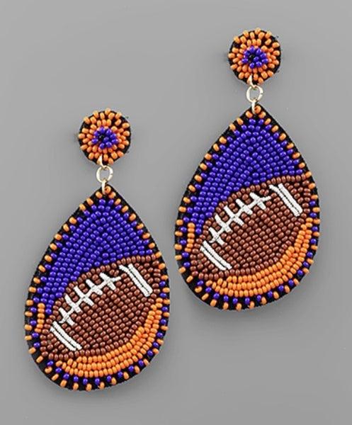 Orange & Blue Beaded Football Earrings