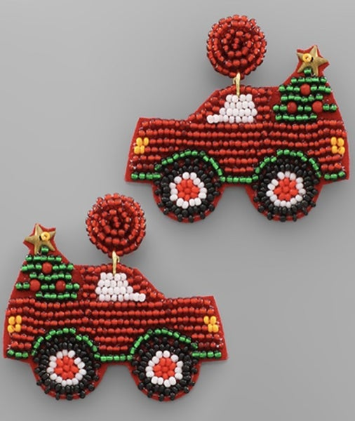 Beaded Red Truck W/Christmas Tree