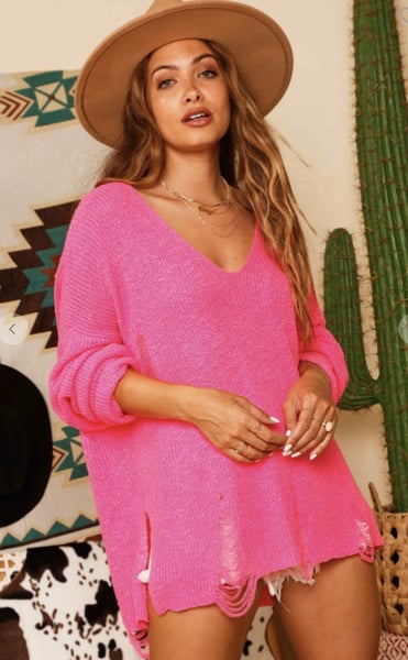 Hot Pink Long Sleeve Distress Sweater