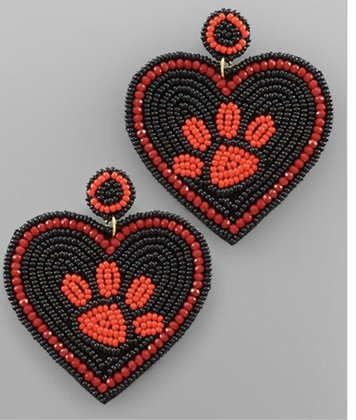 Heart Beaded Paw Earring