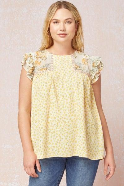 Sunny Days Floral Ruffle Sleeve Top