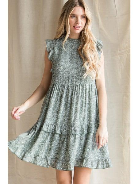 Sage Ruffle Sleeve Dress