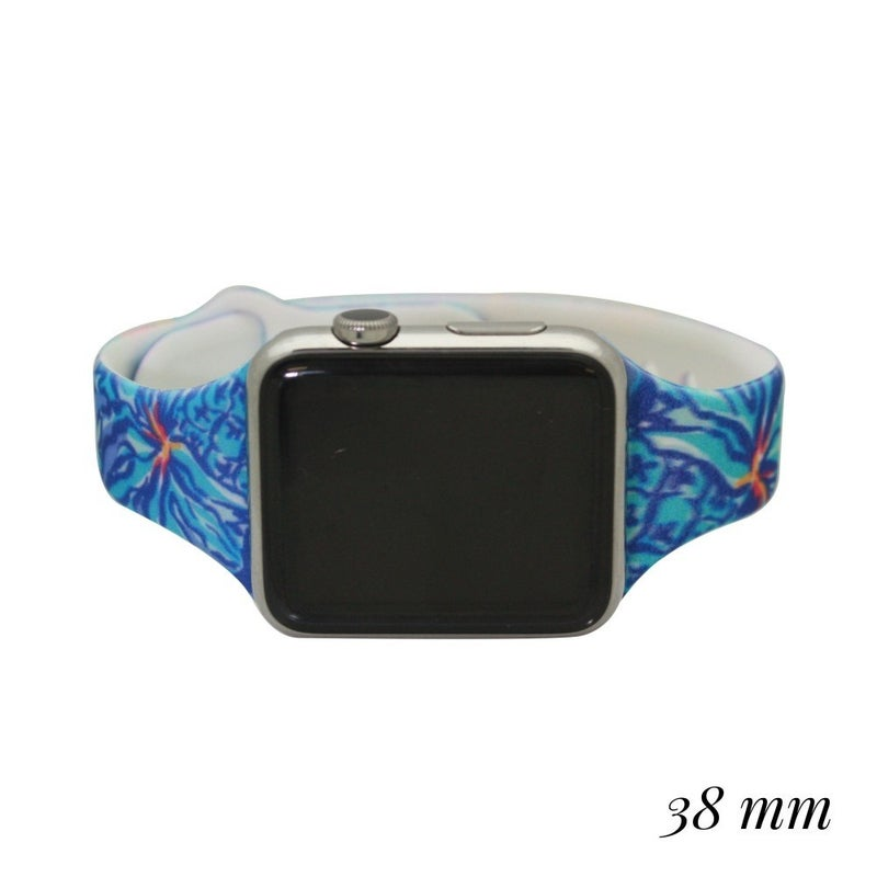 Interchangeable Silicone Floral Print Smart Watch Band 38mm