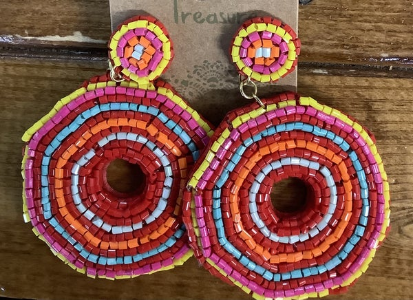 Round Multi Color Dangle Beaded Earring