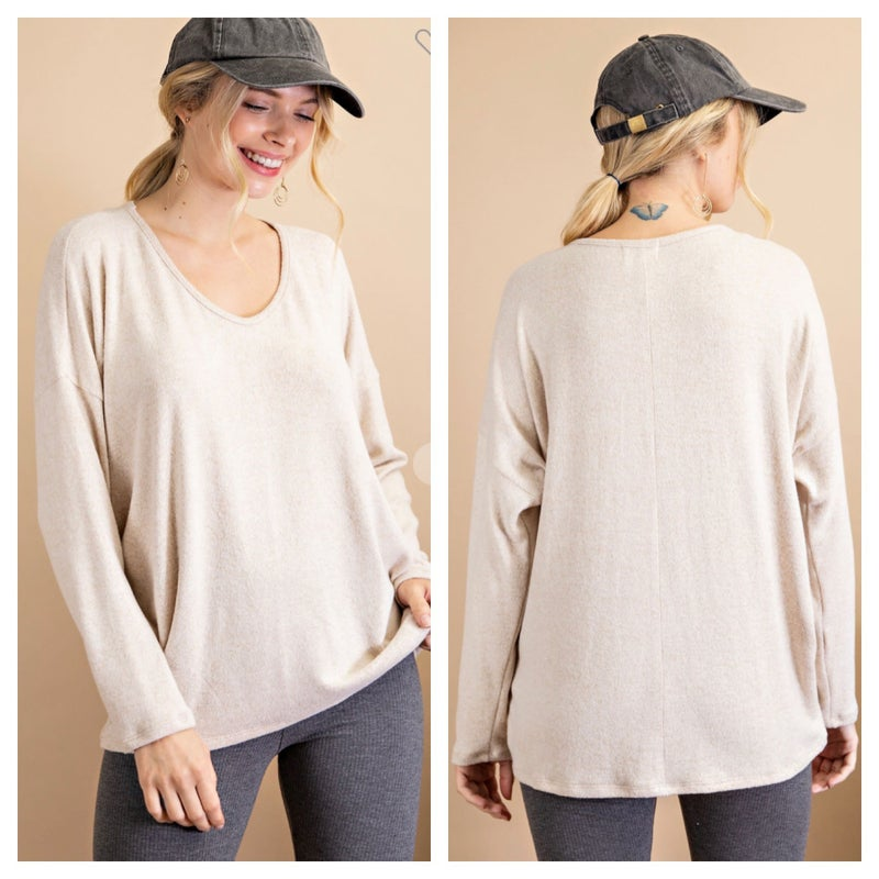 Oatmeal Faux Cashmere Top