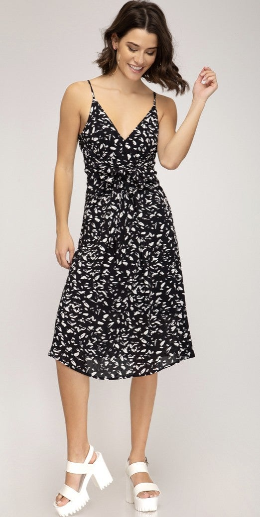 FRONT TIED PRINTED WOVEN CAMI DRESS
