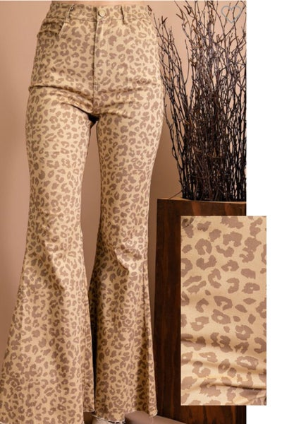 Brown Leopard Flare Trousers