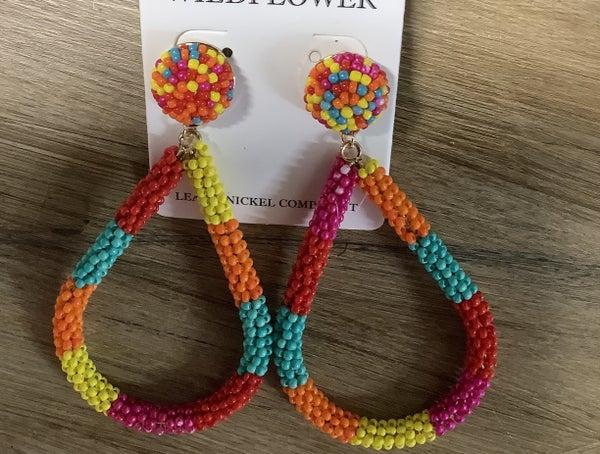Multi Colored Dangle Beaded Hoop