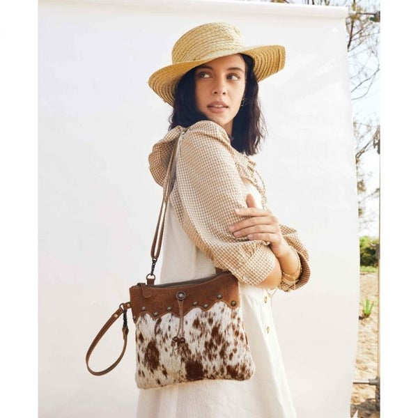 Ornate Brown Leather & Hairon Bag
